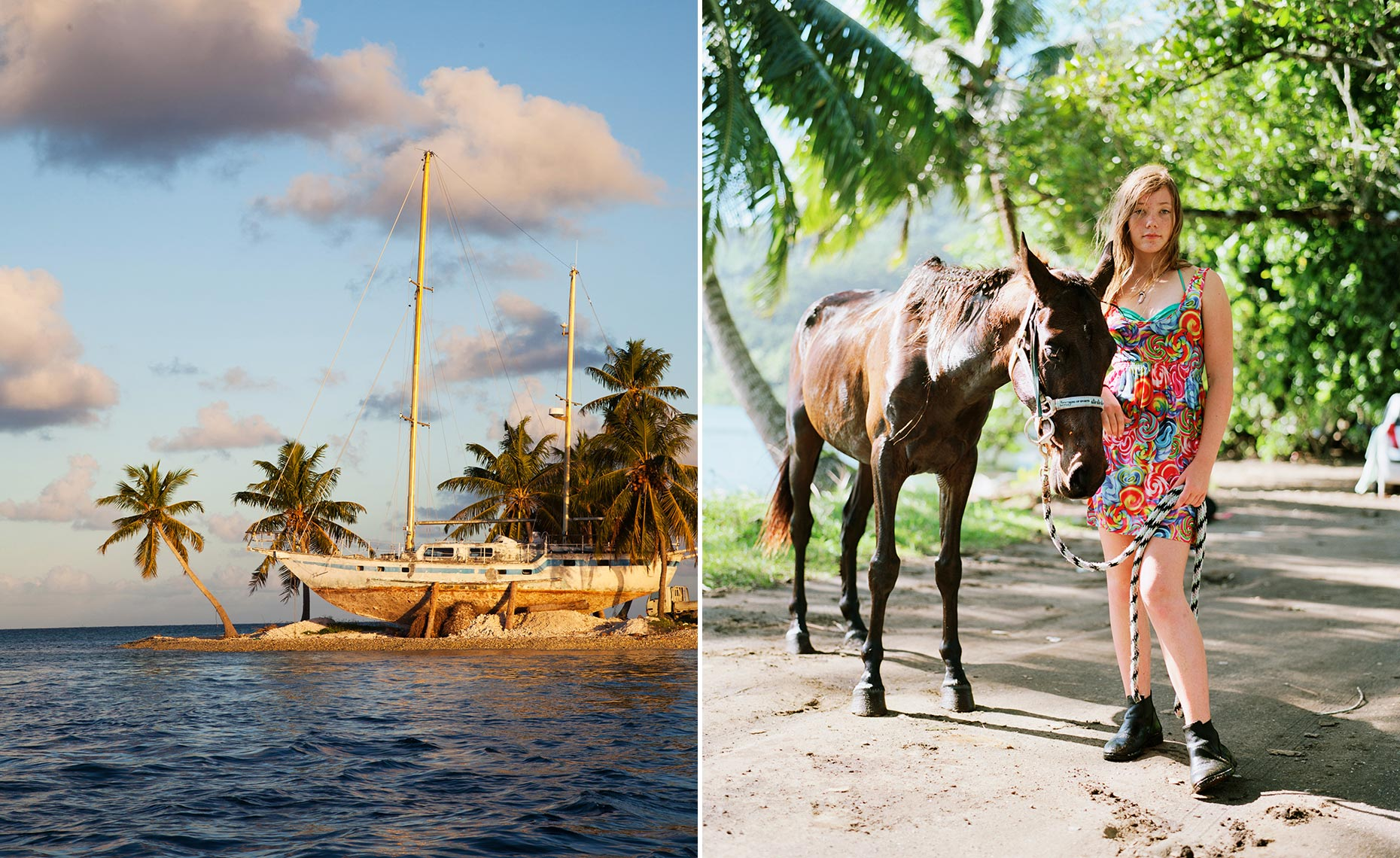 horse pony girl moorea ship abandoned shipwreck tahiti south seas french polynesia